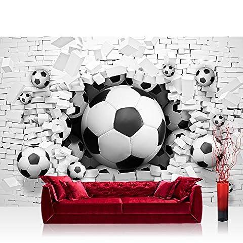 Vlies Fototapete 312x219cm PREMIUM PLUS Wand Foto Tapete Wand Bild Vliestapete - Steinwand Tapete Fußball Steinwand Steinoptik Steine weiß - no.