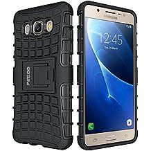 Funda Galaxy J5 (2016),Pegoo Caja El Soporte Incorporado A Prueba de golpes Anti-Arañazos y Polvo Mezcla Doble Capa Armadura Proteccion Cover Case Caso Funda Cáscara Caja para (2016) Samsung Galaxy J5 (Negro)