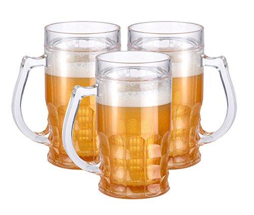 Rosenstein & Söhne Doppelwandiger Maßkrug: Doppelwandiger Getränke-Kühler als Scherz-Bierkrug, 0,3 l, 3er-Set (Doppelwandiger Theater Maßkrug)