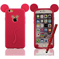Carina Mickey Mouse Stile Serie - Cover protettiva per iPhone 6 / 6S 4.7 Pollici Super Morbida & Magro Silicone Gel Premio Custodia Anti-Shock anti-polvere anti-graffi + Bella Penna Stilo, Slap-up Stile Alta qualità iPhone 6S