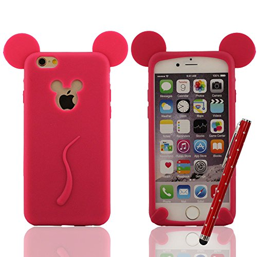 Carina Mickey Mouse Stile Serie - Cover protettiva per iPhone 6 / 6S 4.7 Pollici Super Morbida & Magro Silicone Gel Premio Custodia Anti-Shock anti-polvere anti-graffi + Bella Penna Stilo, Slap-up Sti Rosso scuro
