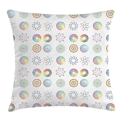 Ejjheadband Abstract Throw Pillow Cushion Cover, Rainbow Colored Flower and Vortex Design Geometric Design Elements Illustration, Decorative Square Accent Pillow CaseMulticolor 16x16inch