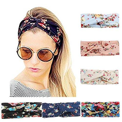 6 Stück Damen Stirnband Kopfband Stirnbänder Haarspange Haarband Headband elastische Blume gedruckt Sportliche
