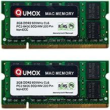 QUMOX Memoria SODIMM DDR2 Apple 4GB Kit (2x 2GB) PC2-6300 PC2-6400 800MHz para iMac y Macbook