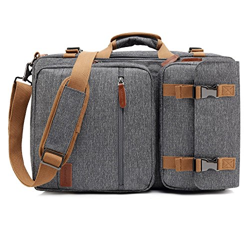 CoolBELL 17,3 Zoll umwandelbar Aktentasche Rucksack mit USB Anschluss Messenger Bag Mehrzweck Umhängetasche Business Briefcase Travel Backpack Mehrfachschutz Laptop Tasche für Laptop / Macbook / Tablet / Herren / Damen / Studenten(Grau) (Messenger Travel Bag)