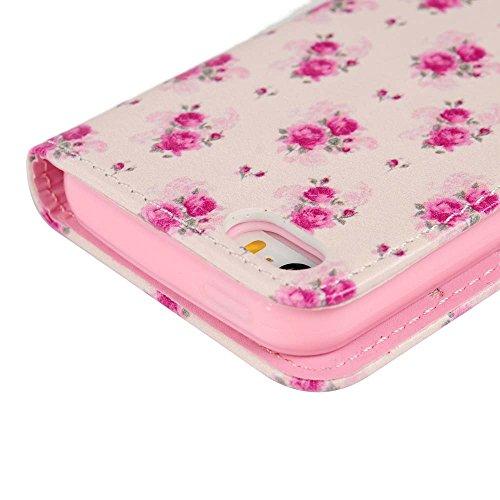 Mavis's Diary® Étui iPhone5/iPhone5S/iPhone SE Coque Housse en Cuir Jolie Fleur Simple Dessin Coloré Protection Portefeuille Étui à Rabat avec Support Function Case Cover fleur