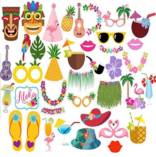 36 Stück Hawaii Themed Foto Requisiten, Tukistore Hawaiian Photo Booth Selfie Rahmen Requisiten Unisex DIY Kit Photo Booth Prop Party-Requisiten für Sommer Pool Party Dekoration