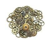 Surtido de abalorios para colgantes con diseño de engranajes de ruedas de reloj antiguos de estilo retro steampunk, 100 g, para manualidades DIY, acce