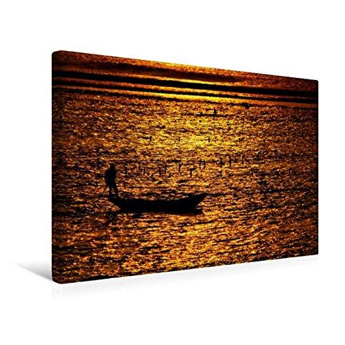 Calvendo Premium Textil-Leinwand 45 cm x 30 cm Quer, Mann mit Boot bei der Algenernte, Bali | Wandbild, Bild auf Keilrahmen, Fertigbild auf Echter Leinwand, Leinwanddruck Orte Orte