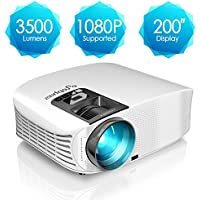 Projector, ELEPHAS 3500 Lumens HD Video Projector 200'' Home Cinema LCD Movie Projector Support 1080P HDMI VGA AV USB Micro SD Ideal for Home Theater Entertainment Party and Games, White
