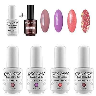 Gellen 4pcs Mix Colours Gel Nail Polish +1pcs Base Gel +1pcs Non cleansing Top Coat Gel DIY Nail Art Kit Sets