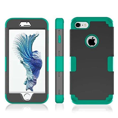 iPhone 7 hülle, Lantier 3 in 1 [weicher harter Tough Case] [Anti Scratch] [Stoßdämpfung ] Leichte Schlank Voll Body Armor Schutzhülle für Apple iPhone 7 (4,7 Zoll) Mint Green + Grau Black+Green
