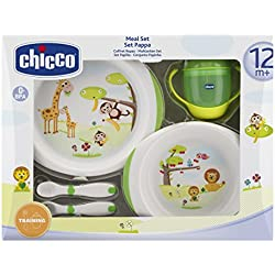 Chicco - Set de vajilla y cubertería infantil (platos, cubiertos y vaso), 12m+