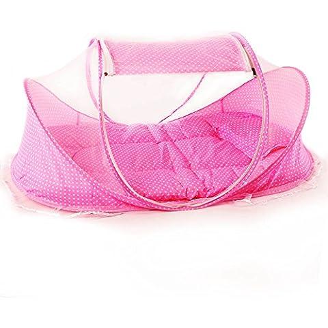 Plegable Cama Mosquitero Viaje Instantáneo Tienda Cuna para Bebés Color de rosa