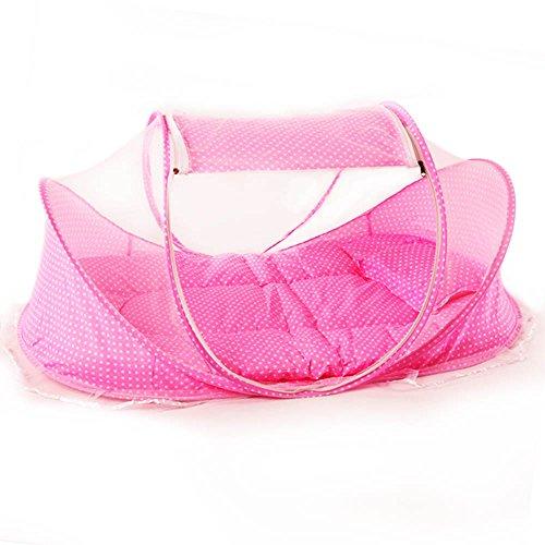 Preisvergleich Produktbild ASIV Reisen Babybett Babyreisebett mit Matratze, Moskitonetz, Kissen, Musik-box und Mesh-Tasche, 108 x 65 x 52 cm, Rosa