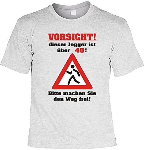 Witziges Geburtstags-Spaß-Shirt + gratis Fun-Urkunde: Vorsicht dieser Jogger ist über 40! Grau