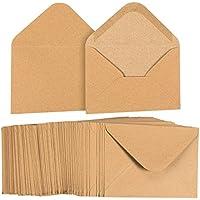 Lot de 100enveloppes papier kraft Sac à provisions A6Marron pour 4x 6cartes de vœux et d'invitation annonces–Value Pack carré Rabat enveloppes–43/4x 61/5,1cm–100graines