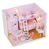 FLAMEER 1/24 Rosa Basteln Puppenhaus Dollhouse Mädchenzimmer mit Möbel und LED Set