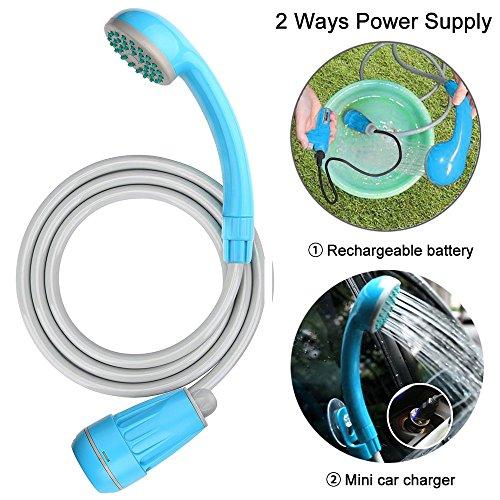 LIBERRWAY Ducha Portátil para Acampar Manguera de 1,8 m y Cable USB, Batería Recargable de 2200 mAh, Bomba de Agua para Viajes Al Aire Libre, Carros, Lavado y Tienda Privada