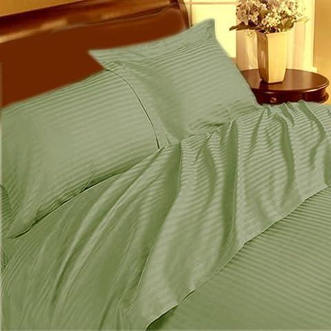 Marca 3pc Juego de funda nórdica Supreme 350TC Sage Stripe Cama de matrimonio pequeña 100% algodón egipcio–por TRP Hojas–B21
