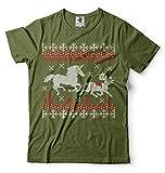 Silk Road Tees Männer Weihnachten Hässliche Strickjacke-Art-T-Shirt Einhorn Töten Deer lustiges T-Shirt Gift Shirt Nordic-Muster-T-Shirt 3X-Large Militärgrün