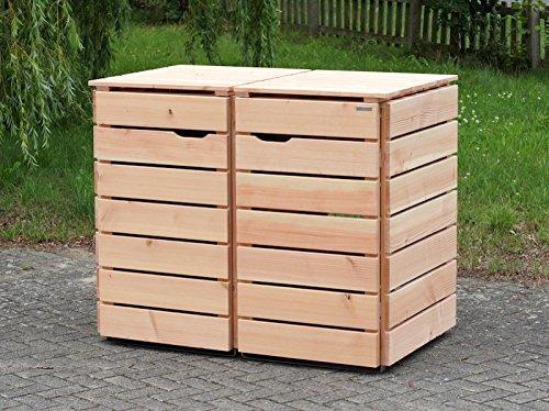2er Mülltonnenbox / Mülltonnenverkleidung 240 L Holz, Douglasie Natur - 3