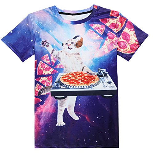 Idgreatim Unisex Casual 3D Print Tier Kurzarm T-Shirt Grafik T-Shirts pizza  cat ...