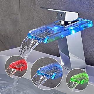 Auralum LED Chromed Glass for washbasin, Bath, Kitchen, Waterfall Mixer tap