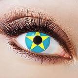 Farbige Kontaktlinsen Blau Ohne Stärke Blaue Jahreslinsen Weiche Motiv-Linsen Farbig Halloween Karneval Fasching Cosplay Kostüm Stern Hellblau Gelb Motiv