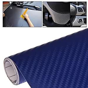 Voiture Décoratif Pvc Autocollant De Fibre De Carbone 3D, Taille: 127Cm X 30Cm (Bleu Foncé)