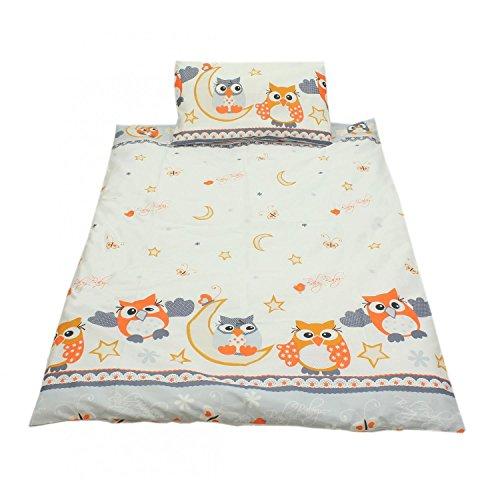 TupTam Kinderbettwäsche Set Baumwolle 2 teilig, Farbe: Eulen 2 Grau, Größe: 135x100 cm