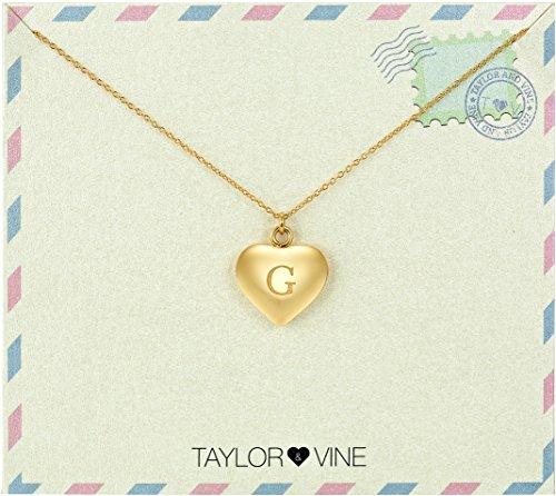 """Amore lettera iniziale Collana ciondolo a forma di cuore con incisione """"I Love You, 16by Taylor e Vine, acciaio inossidabile, cod. TVN0002G-UK"""
