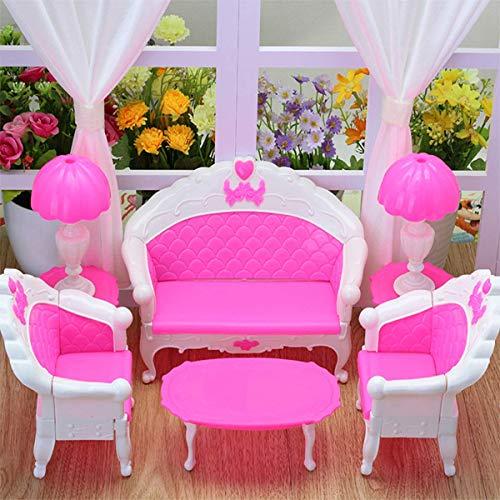 Wohnzimmer Traditionellen Sofa (EPRHY Puppenhausmöbel Wohnzimmer-Sofa-Set für Barbie-Zubehör, langes Sofa, Stühle, Vintage-Schreibtischlampe, Tee-Tisch für Barbie-Puppenhaus, Action-Figuren, 6 Stück)