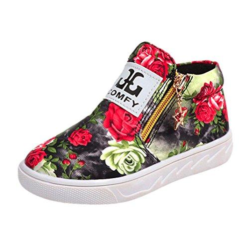 ZODOF Niños pequeños Niños Niñas Niños Casual Botines Florales Niños Zapatos de Cuero con Cremallera