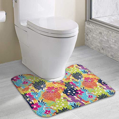 Hoklcvd Kaktus-buntes Muster-U-förmige Toiletten-Boden-Wolldecke Rutschfeste Toiletten-Teppiche Duschmatte (Star Wars Auto-fußmatten)