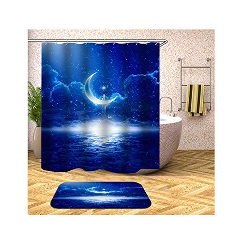 AmDxD Duschvorhang Badteppiche Set aus Polyester| 3D-Druck Mood Nacht Himmel Muster Design Badewannenvorhang Badvorleger | Blau | mit 12 Duschvorhangringen für Badewanne Badezimmer - 150x200CM - Thymian Dusche