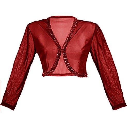#4099 Chiffonbolero Bolero Jäckchen mit Strass Steinen Jacke Abendjacke 34 36 38 40 Onesize (Rot) (Frauen Strass-jacken Für)