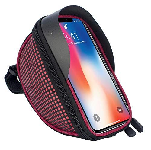 Fahrradtasche Fahrradtasche Fahrrad Lenker Rahmen Universal Touchscreen Halterung für Sony Xz2, XZ1, XA2, XZ2 Compact, XA1, XZ1 Compact, L1, XA1 Plus, XZs, L2 Smartphone mit Aufbewahrungstasche rosso
