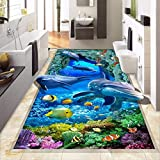 3D Boden Tapete Benutzerdefinierte Wandbild Meeresboden Delphin Bad Boden Aufkleber Selbstklebende Rutschfeste Küche Vinyl Wandbild Tapete 140cm(L) X100cm(W)