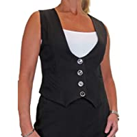 icecoolfashion Women's Fully Lined Business Waistcoat Button Down Washable Formal Office Day Work 8-22