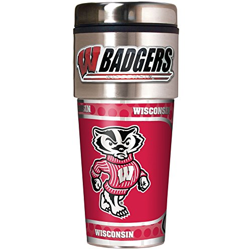 Great American NCAA Metallic Travel Tumbler, Edelstahl und Schwarz Vinyl, 473 ml, TTWM2380-14, Stainless Steel and Black Vinyl, 16-Ounce Great American Products Tumbler