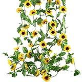 HUAESIN 4pcs 2.5m Tournesol Artificiel Guirlande Plante Artificielle Suspendue Fausse Soie Fleur de Vigne Exterieur Interieur Suspendues pour Mariage Fête Jardin Panier Balcon