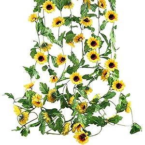 HUAESIN 4pcs Guirnalda de Flores Artificiales Girasoles Decoracion 2.5m Enredadera Artificial Flores de Girasoles…