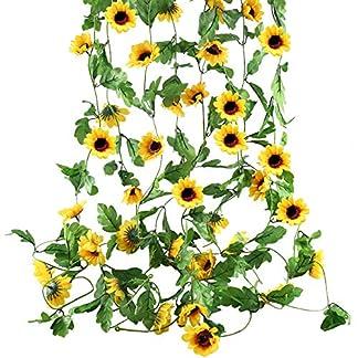HUAESIN 4pcs Guirnalda de Flores Artificiales de Seda 2.5m Girasoles Artificiales Enredaderas Colgantes Hojas Verde Plantas de Plastico Colgante para Arco de Boda Puerta Fiesta Pared Escalera Boda