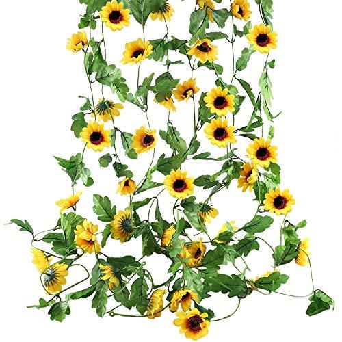 HO2NLE Künstliche Sonnenblumen zum Aufhängen, aus Seide, für Zuhause, Büro, Garten, Garten, Garten, Garten, Garten, Grün, Dschungel, Party-Dekoration, 4 Stück