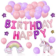 nuoshen Unicorn Decorations for Birthdays,Unicorn Birthday Banners Party Balloons for Girls( 3D Unicorn Balloon, Happy Birthday Balloon Banner, Rainbow Balloon,Star Decorations and Ballons)