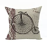 Nunubee Vintage Haupt Dekoration Kissenbezug Baumwolle Leinen Platz Heim Pillowcase Kissen für Sofa Bett Fahrrad