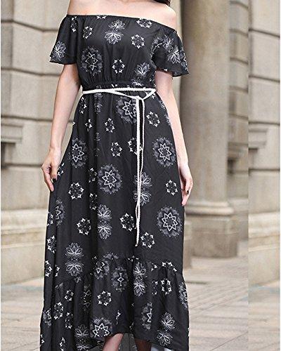 Femmes Robes Épaules Nues Manches Courtes Plissée Robe Longue Maxi Robe de Soirée D'été Bustier Noir