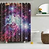 Colorfulword Digital Printed Antibacterial Mildew Proof 100% Polyester Fabric water resistant Shower Curtain Anti-Mould Washable,150*180cm (Star)