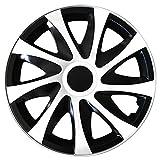 (Größe wählbar) 15 Zoll Radkappen / Radzierblenden DRACO Bicolor (Schwarz-Weiss) passend für fast alle Fahrzeugtypen – universal